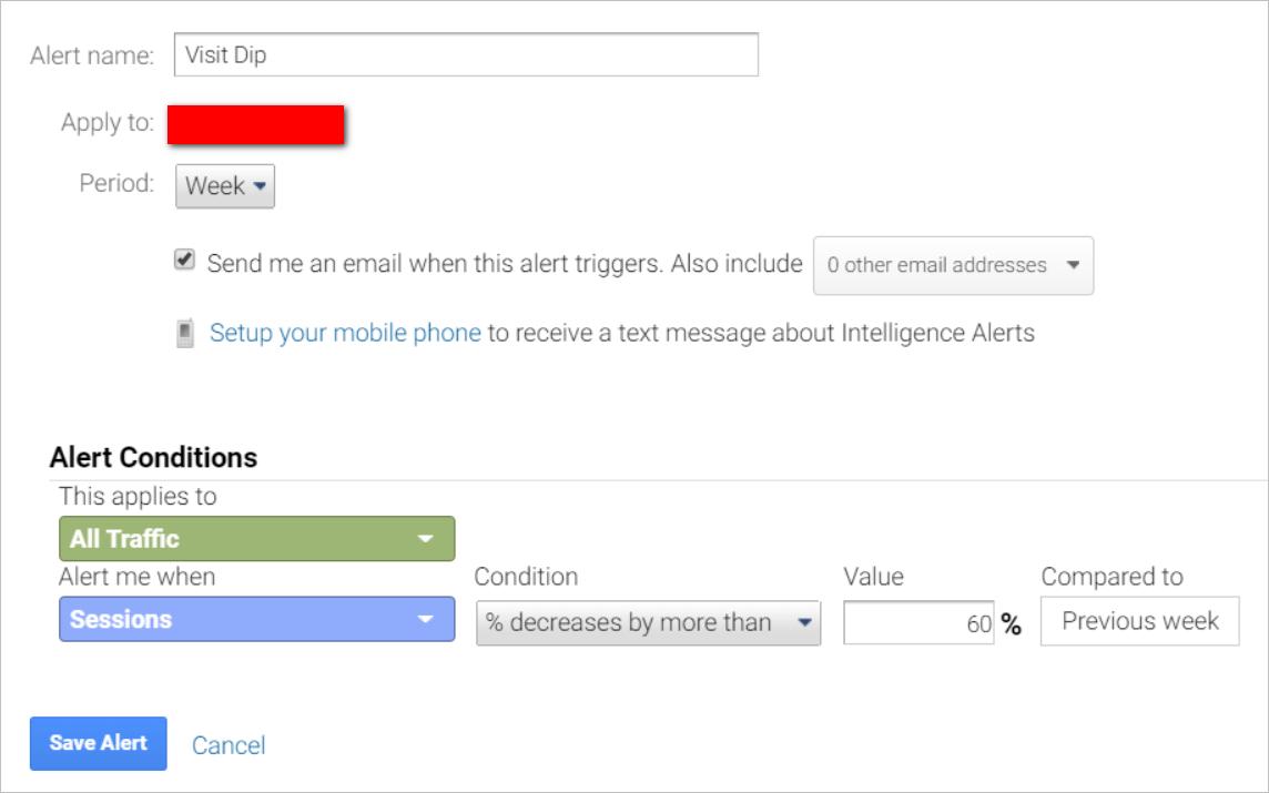 google analytics custom alerts-visit dip-setup